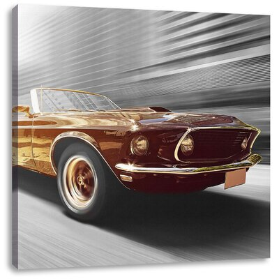Pixxprint Racy Mustang Photographic Print on Canvas