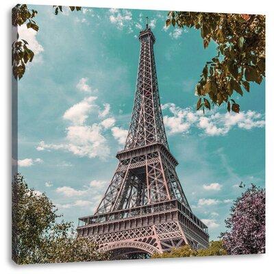 Pixxprint Eiffel Tower Paris Photographic Print on Canvas