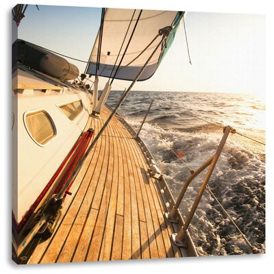 Pixxprint Magnificent Sailboat in the Ocean Photographic Print on Canvas
