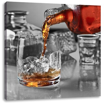 Pixxprint Good Whiskey in a Glass Photographic Print on Canvas