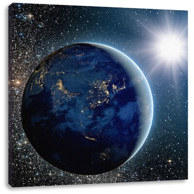 Pixxprint Earth in Front of Bright Sun in Solar System Photographic Print on Canvas