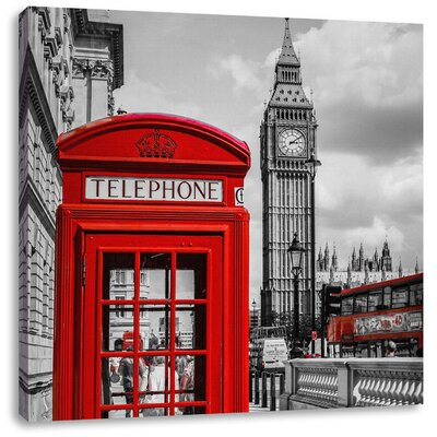 Pixxprint Classic Red Telephone Booth London Photographic Print on Canvas