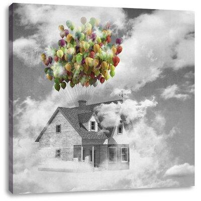 Pixxprint House on Balloons Photographic Print on Canvas