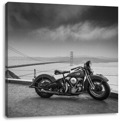 Pixxprint Impressive Harley Bike Photographic Print on Canvas