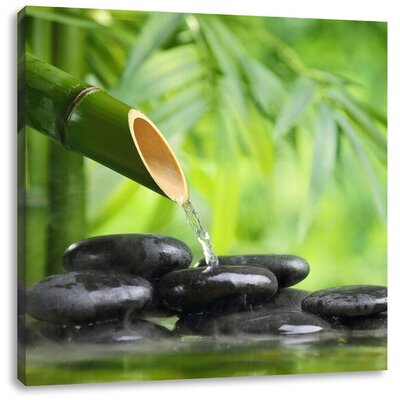 Pixxprint Bamboo Fountain with Zen Stones Photographic Print on Canvas