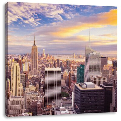 Pixxprint Impressive View of New York at Sunset Photographic Print on Canvas