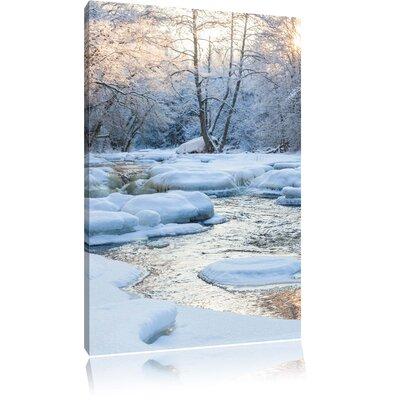 Pixxprint Stream Winter Landscape Photographic Print on Canvas