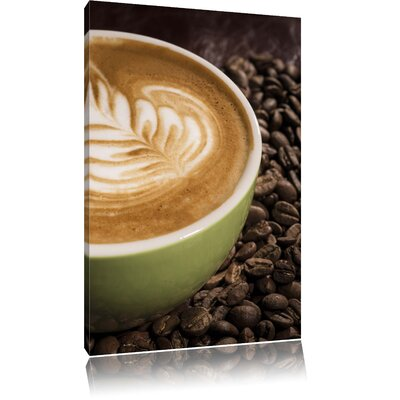Pixxprint Coffee Cappuccino Coffee Afternoon Photographic Print on Canvas