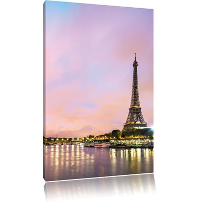 Pixxprint Eiffel Tower Paris by Night Photographic Print on Canvas