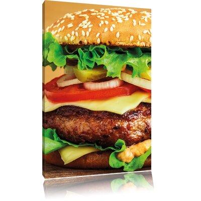 Pixxprint Hamburger McDonald's Cheeseburger Photographic Print on Canvas