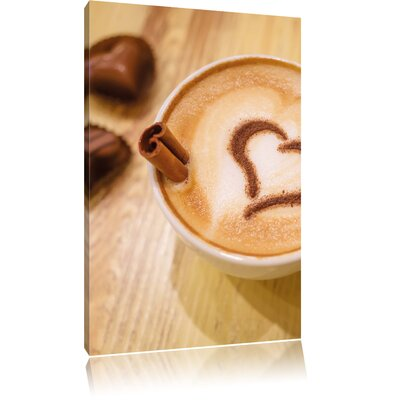 Pixxprint Foam Coffee Heart Cappuccino Photographic Print on Canvas