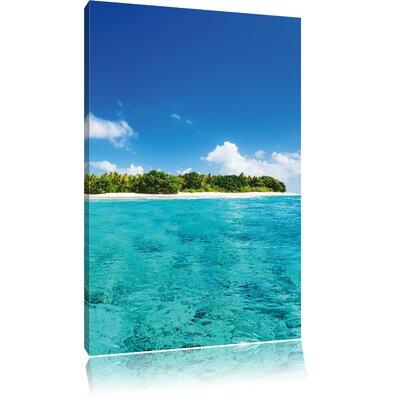 Pixxprint Maldives Dream Beach Blue Sea Summer Sunshine Photographic Print on Canvas