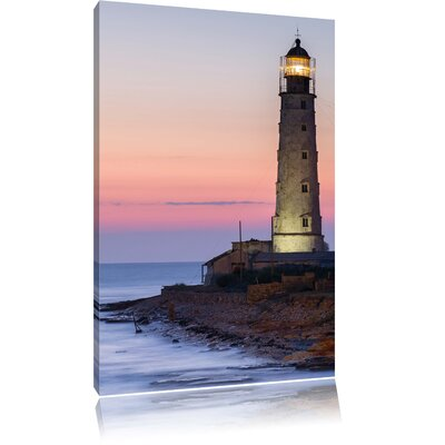 Pixxprint Lighthouse at Twilight Photographic Print on Canvas