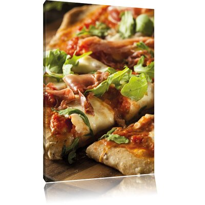 Pixxprint Pizza Stone Oven Pizza Cheese Salami Tomatoes Photographic Print on Canvas