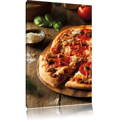 Pixxprint Pizza Cheese Salami Pizza Hawaii Photographic Print on Canvas