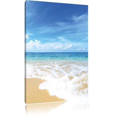 Pixxprint Sand Beach Waves Sunshine Photographic Print on Canvas