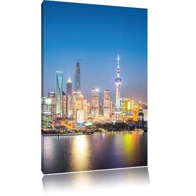 Pixxprint Shanghai Skyline Photographic Print on Canvas