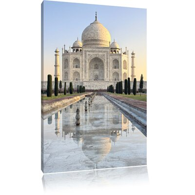 Pixxprint Taj Mahal Photographic Print on Canvas