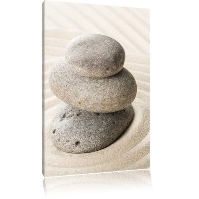 Pixxprint Zen Stone in Sand with Pattern Photographic Print on Canvas
