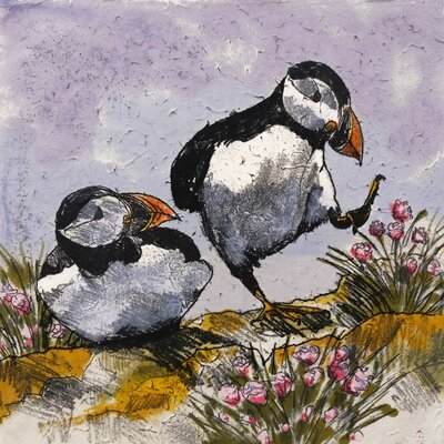 AnnabelLangrish Dancing Puffins by Annabel Langrish Graphic Art in Black