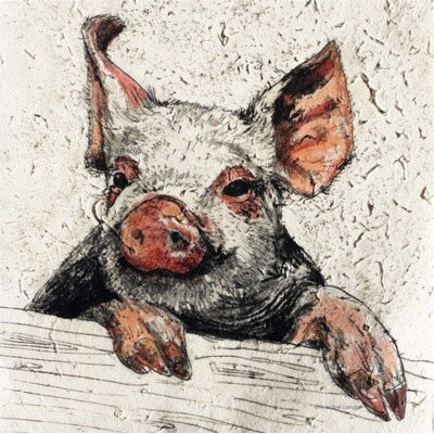 AnnabelLangrish Piggy by Annabel Langrish Graphic Art in Beige