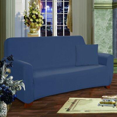 Box Cushion Sofa Slipcover Upholstery: Navy