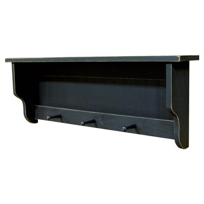 Pine Shelf with Pegs Finish: Old Black