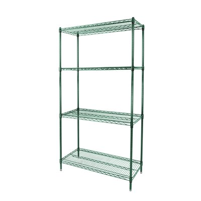 "Wire Shelves with 4 Layers with Post Size: 74"" H x 48"" W x 18.62"" D, Finish: Green Epoxy"