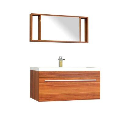 "Waldwick 36"" Single Wall Mount Modern Bathroom Vanity Set with Mirror Base Finish: Cherry"