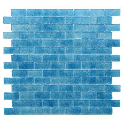 """Quartz 0.75"""" x 1.63"""" Glass Mosaic Tile in Blue"""