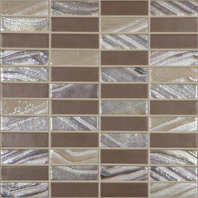 "Urban Tribeca 1"" x 3"" Glass Mosaic Tile in Matte Metalic"