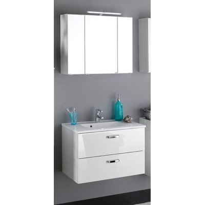 Held Möbel Bologna 80cm Wall Mounted Single Basin Vanity Unit with Mirror