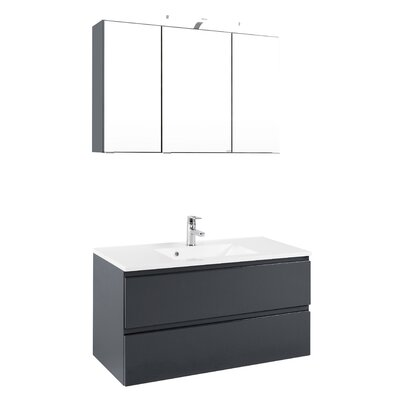 Held Möbel Cardiff 100cm Wall Mounted Vanity Basin with Mirror and Cabinet