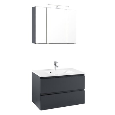 Held Möbel Cardiff 80cm Wall Mounted Vanity Basin with Mirror and Cabinet