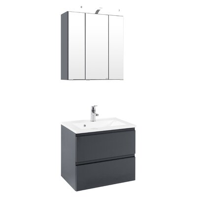 Held Möbel Cardiff 60cm Wall Mounted Single Basin Vanity Unit with Mirror