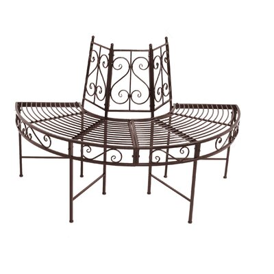 Garden Pleasure 2-Seater Semicircular Metal Tree Bench