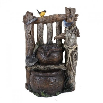 Garden Pleasure Wood-Look Fountain with 2-Fold Cascade
