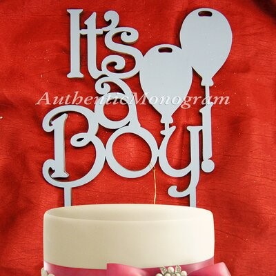 Its a Boy, Wooden Cake Topper Color: Azure