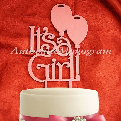 Its A Girl Wooden Cake Topper Color: Gold Glitter