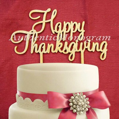 Happy Thanksgving Wooden Cake Topper Color: Harbour Blue