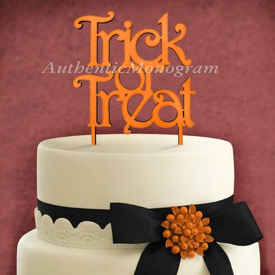 Trick and Treat Wooden Cake Topper Color: Sky Blue
