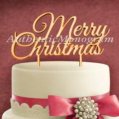 Merry Christmas Wooden Cake Topper Color: Shamrock