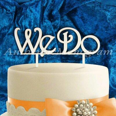 We Do Wooden Cake Topper Color: Gold