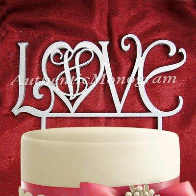 Love Wooden Cake Topper Color: Azure