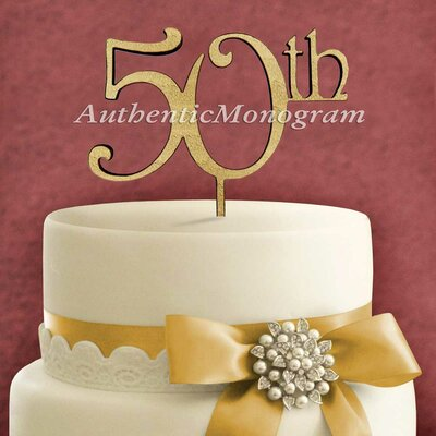 50Th Wooden Cake Topper Color: Gold