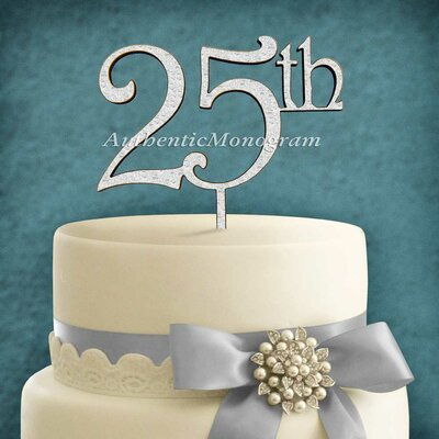 25Th Wooden Cake Topper Color: Gold