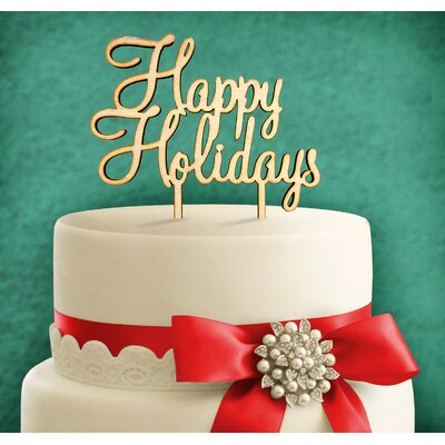 Happy Holidays, Wooden Cake Topper Color: Gold Glitter