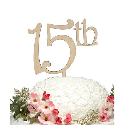 15Th Wooden Cake Topper Color: Azure
