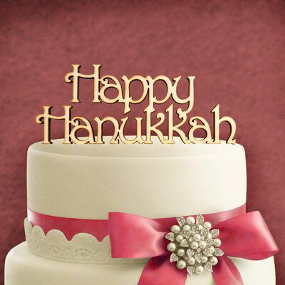 Happy Hanukkah Wooden Cake Topper Color: Wood Violet