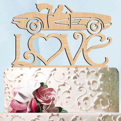 Sports Car Love Wooden Cake Topper Color: Natural